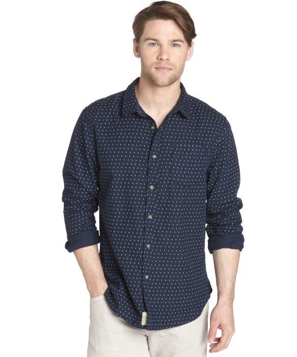 Jachs navy and blue polka dot cotton long sleeve button for Button down polka dot shirt