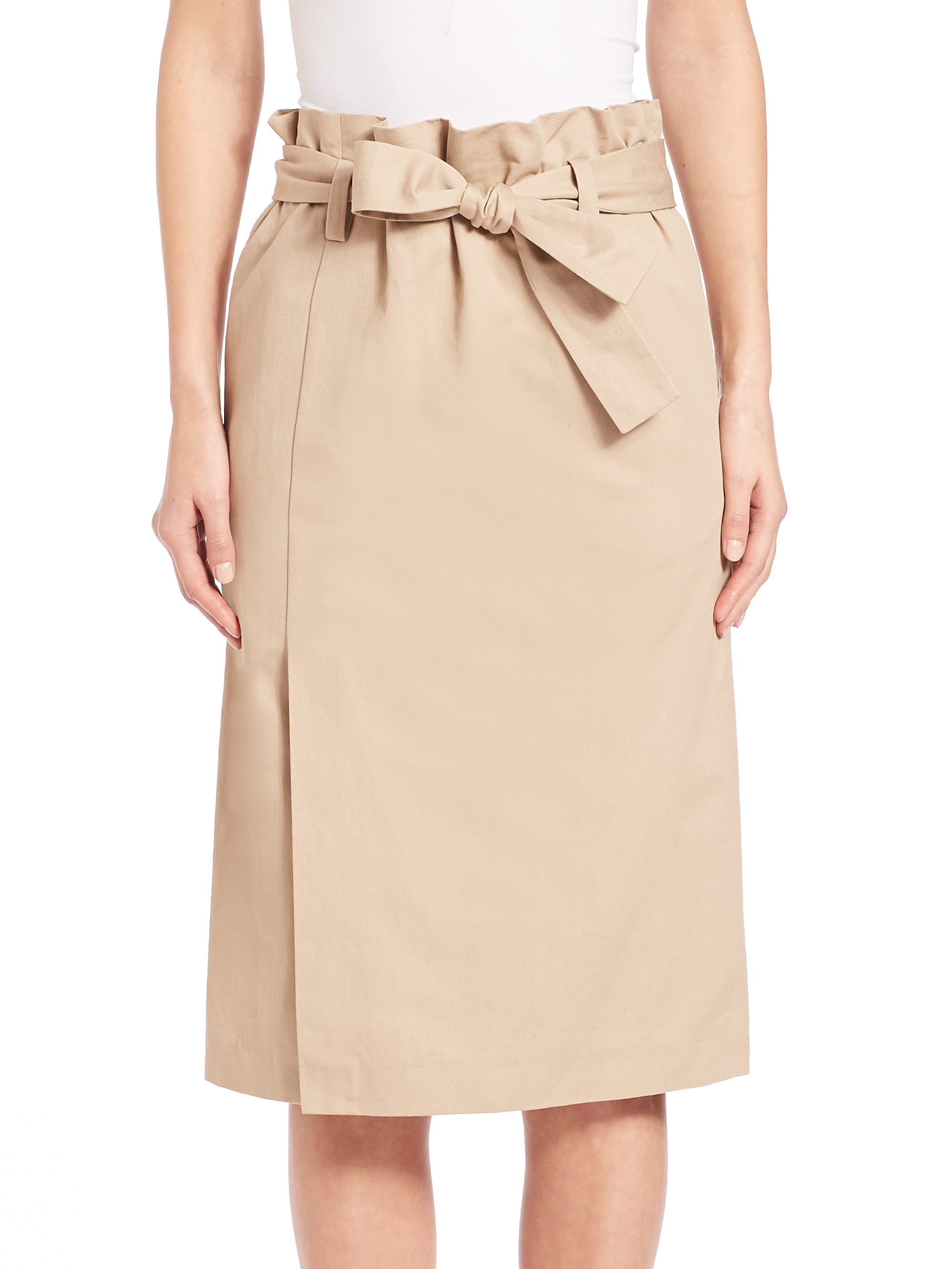 f5dc2488a7 Emilio Pucci Paperbag-waist Pencil Skirt in Natural - Lyst