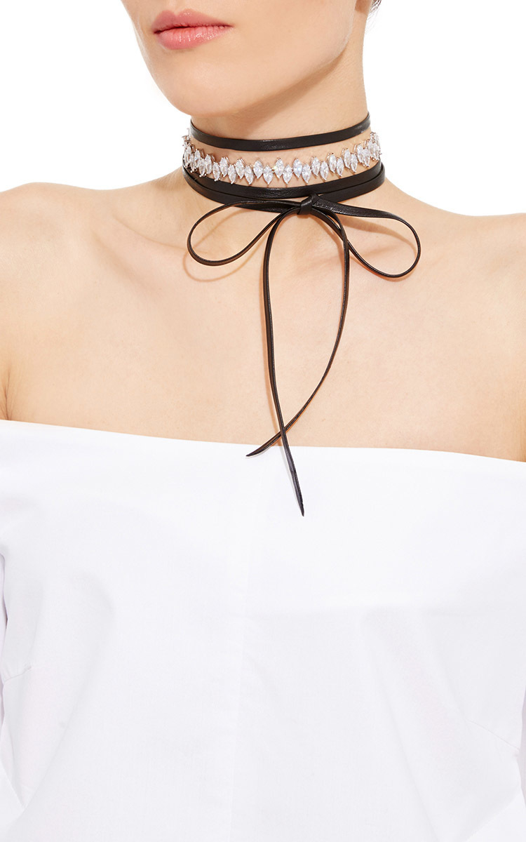 Fallon Monarch Dotted Pearl Wrap Choker Necklace