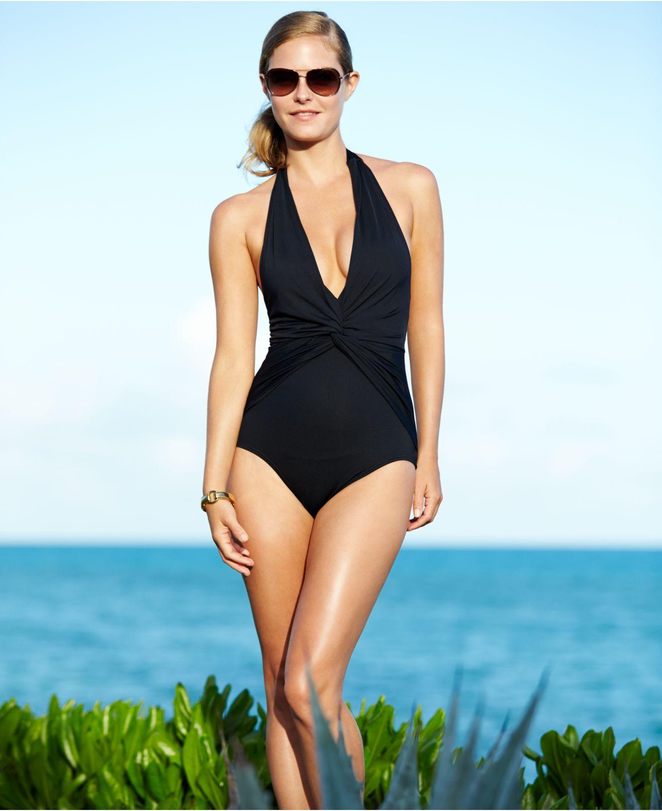 e76434c882bb2 Michael Kors Black One-Shoulder Choker One-Piece Swimsuit 14 NWOT.Michael  Michael Kors - Linked Solids One Shoulder Maillot Swimsuits One Piece.