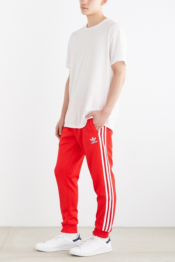 Lyst Adidas Originals Superstar Cuff Track Pant In Red