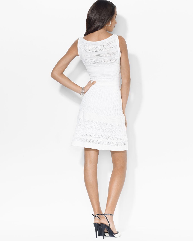 c4a0444fdb1f Lyst - Ralph Lauren Lauren Dress Sleeveless Pointelle Sweater Knit ...