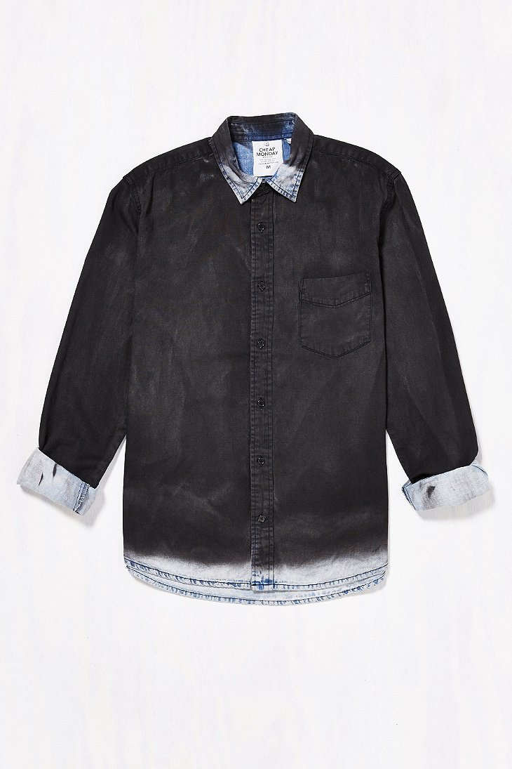 Cheap monday Air Chalk Spray Denim Button-down Shirt in Black for ...