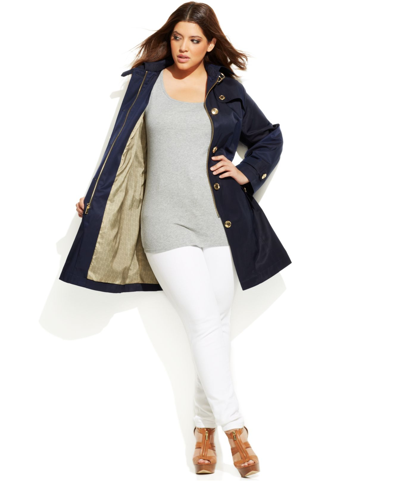 reasonable price big discount wholesale price Michael Kors Michael Plus Size Hooded Belted Trench Coat in Navy ...