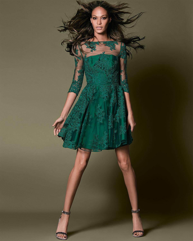 Ml Monique Lhuillier 3 4 Sleeve Lace Illusion Cocktail