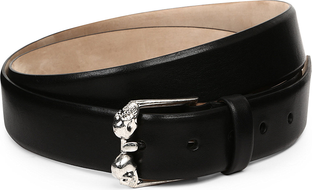 mcqueen classic skull leather belt in black for