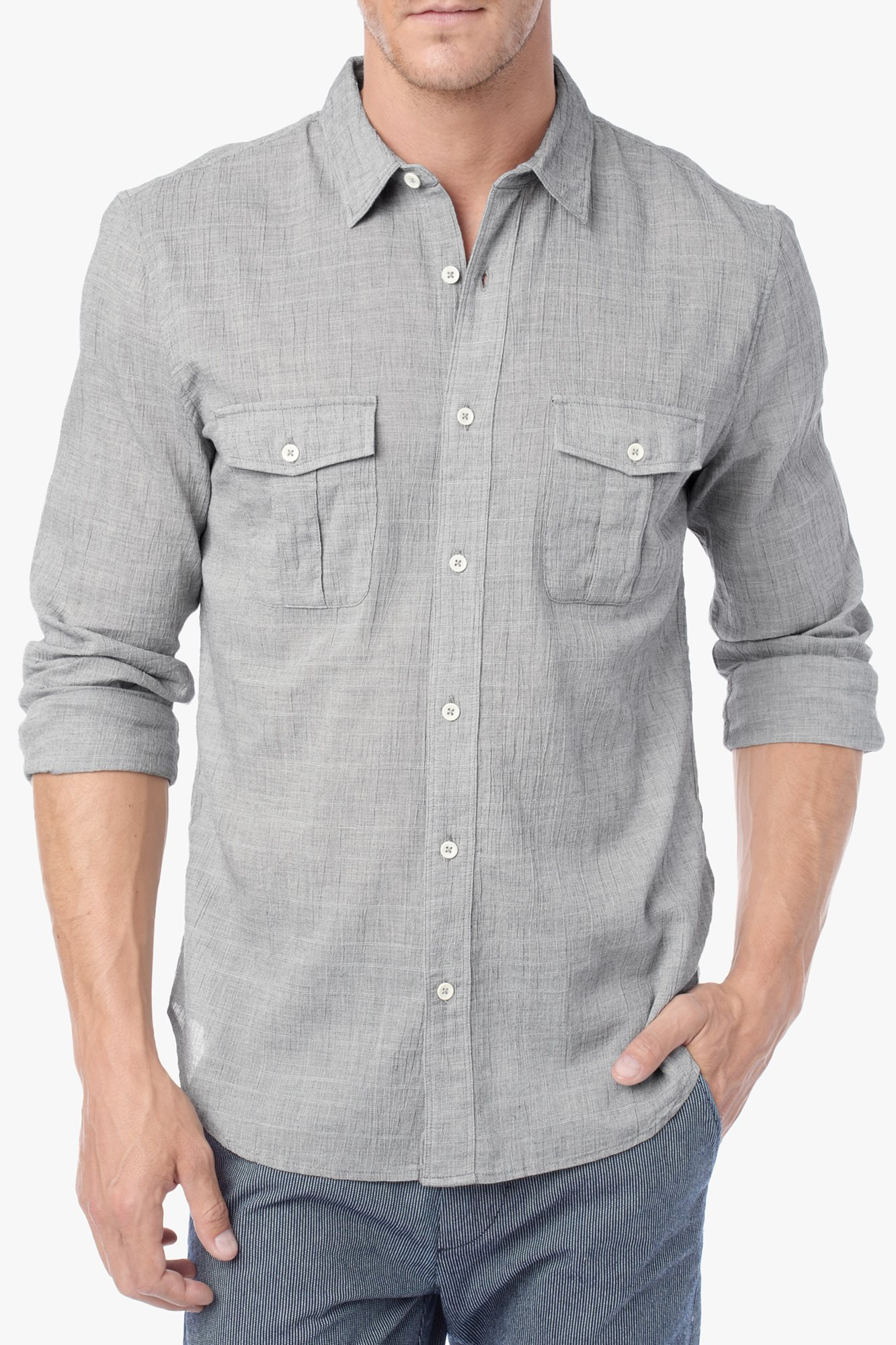 Lyst 7 For All Mankind Double Chest Pocket Shirt In Gray