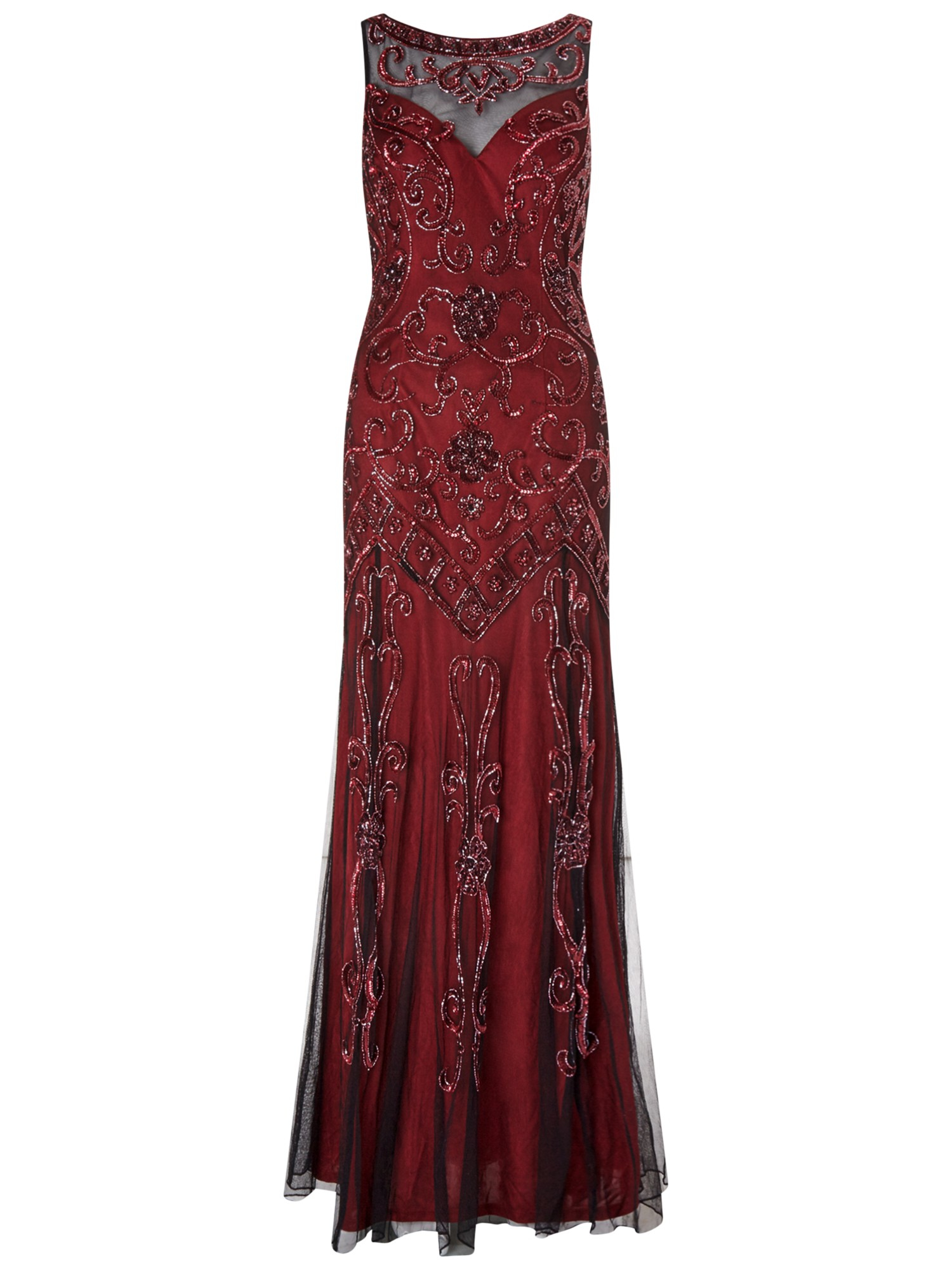 ariella amya length beaded evening gown in lyst