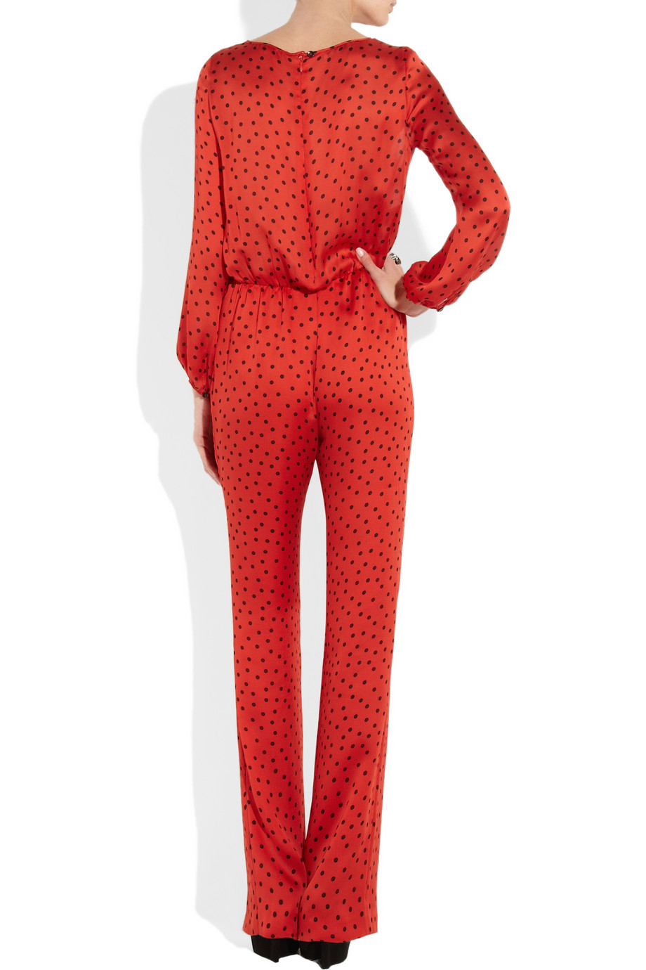 Boutique moschino Polka-dot Print Silk Jumpsuit in Red