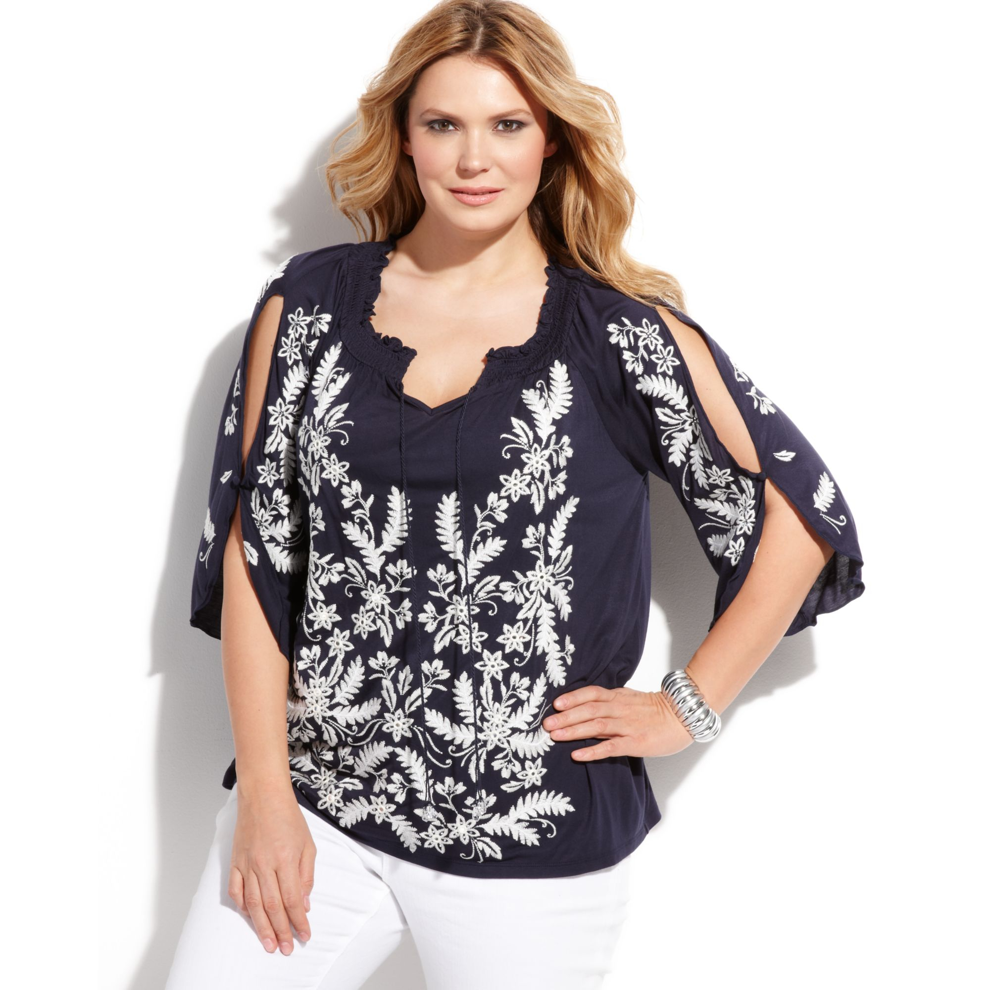 1b5674c24cf Lyst - INC International Concepts Plus Size Embroidered Peasant Top ...