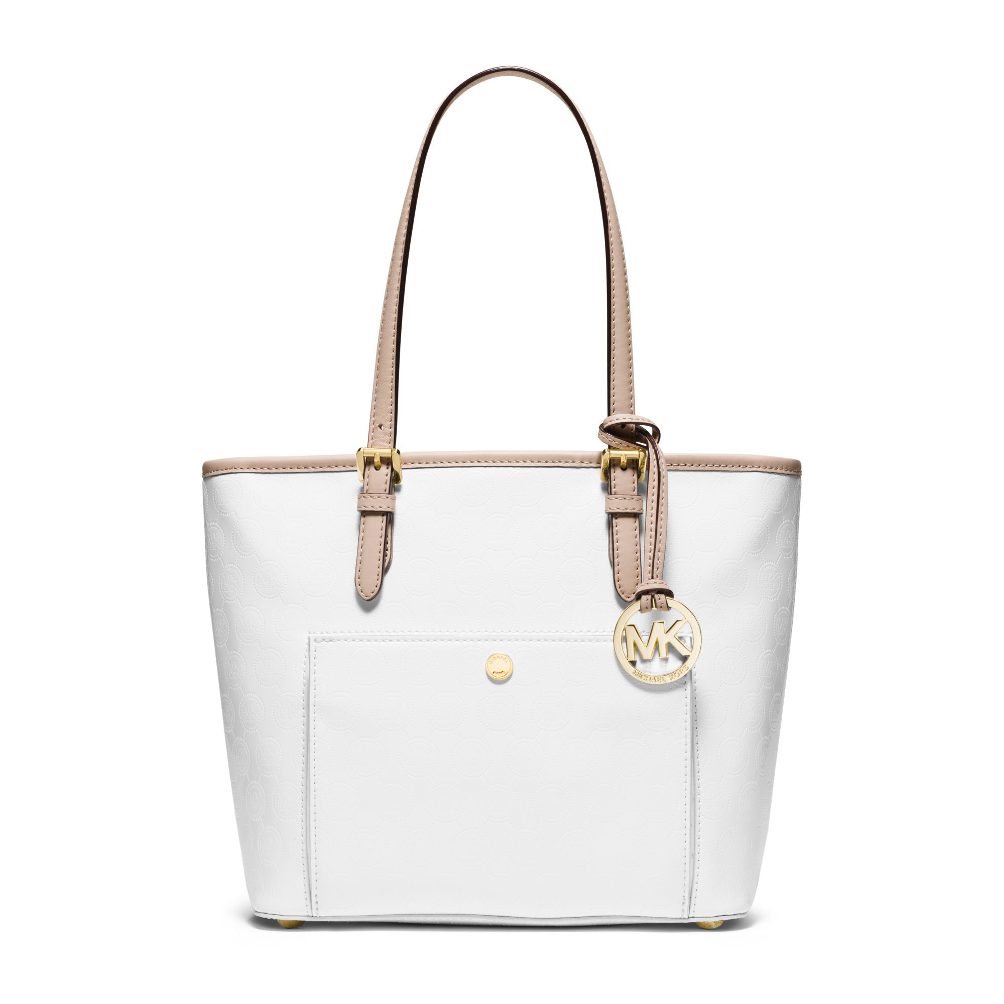 Lyst - Michael Kors Jet Set Travel Medium Metallic Leather Tote in White 0fa7285a5