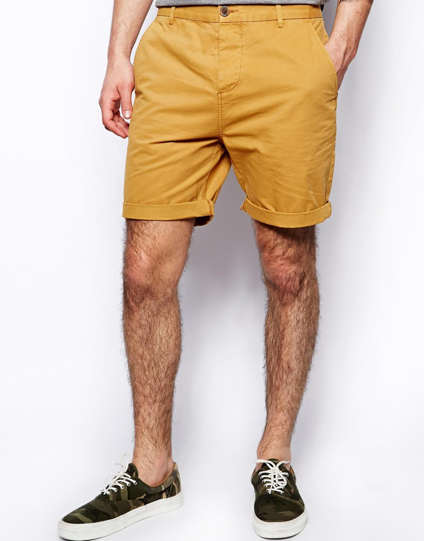 Lyst - Asos Chino Shorts In Mid Length in Yellow for Men