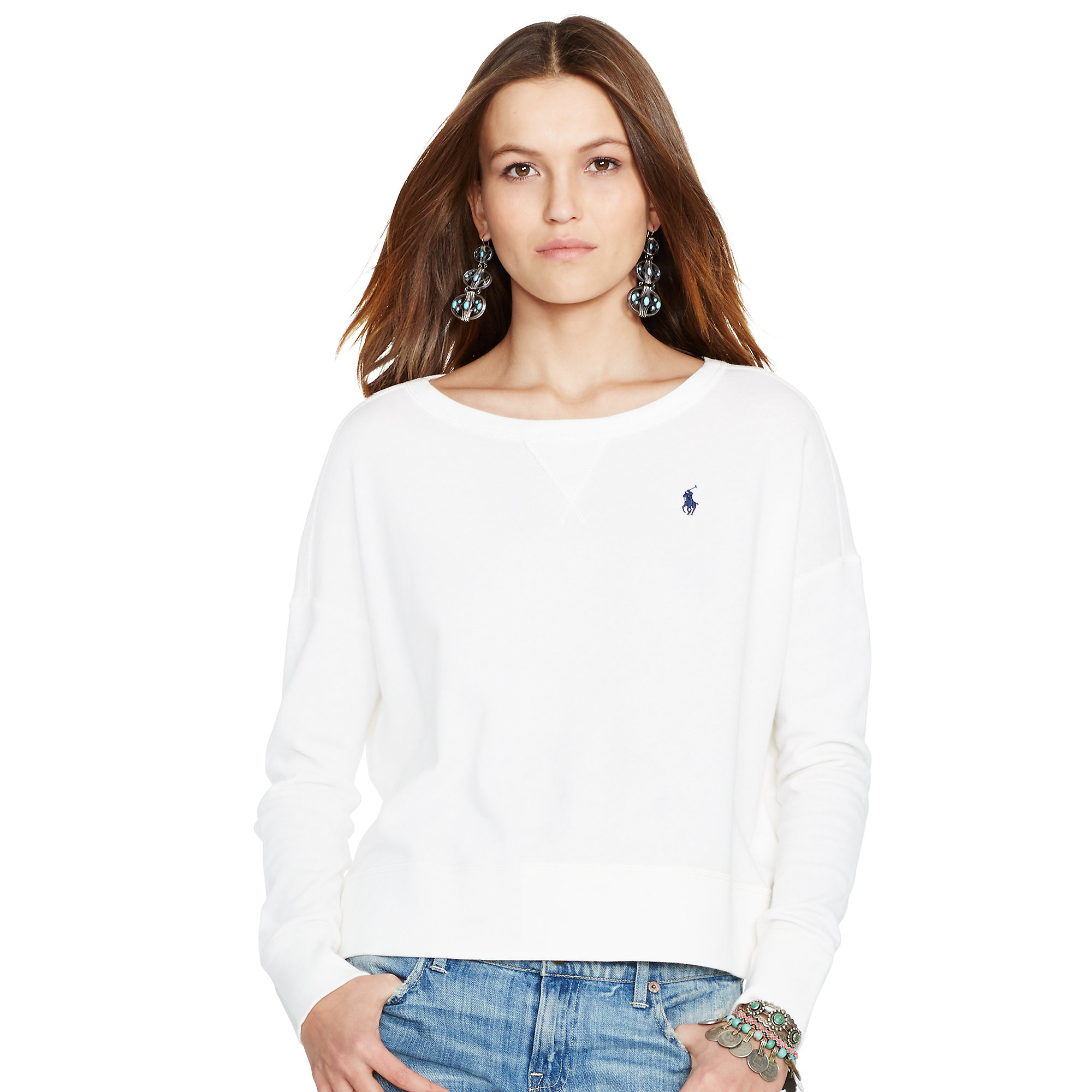 In Lyst Natural Terry Polo Ralph Sweatshirt French Lauren 5cLARj43q