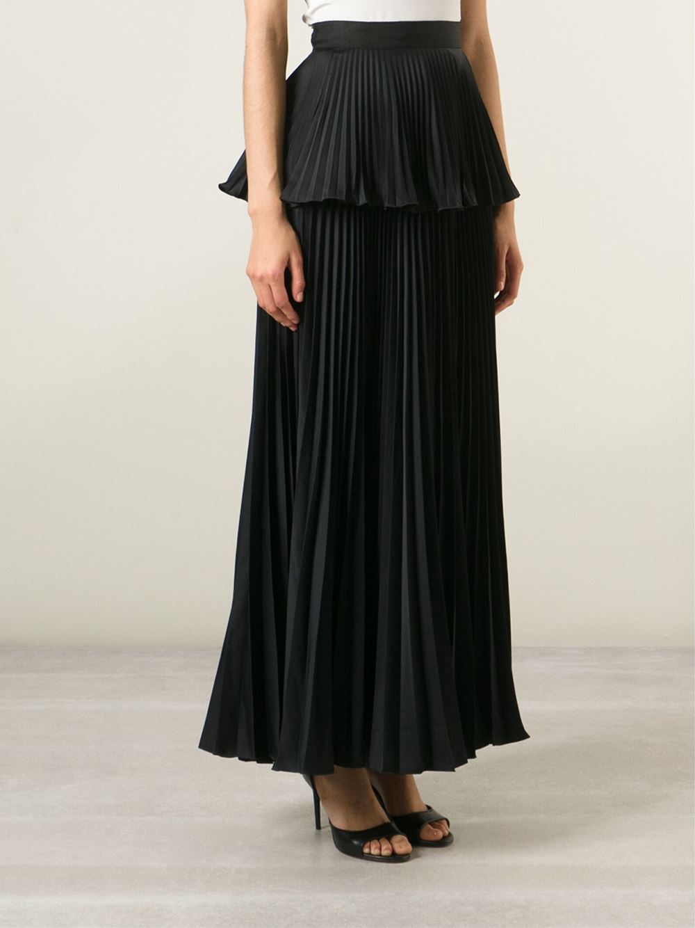Issa Women's Black Long Pleated Peplum Skirt