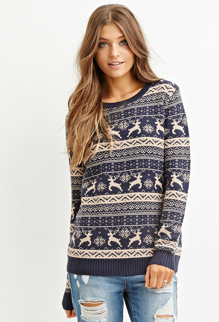 Forever 21 Fair Isle Reindeer Sweater In Blue Lyst