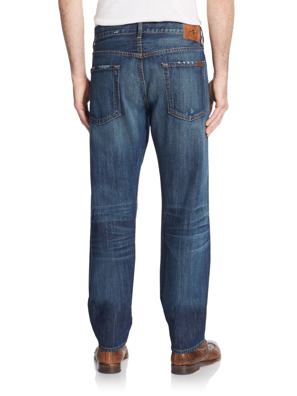 7 for all mankind distressed tapered straight leg jeans in blue for men lyst. Black Bedroom Furniture Sets. Home Design Ideas