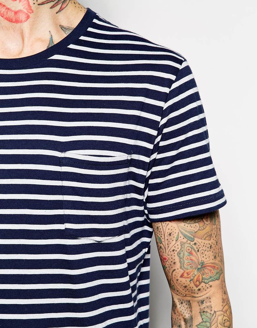 gant rugger t shirt with breton stripe in white for men. Black Bedroom Furniture Sets. Home Design Ideas