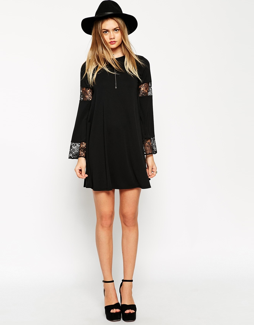 Asos Tall Boho Swing Dress With Long Sleeve And Lace Inserts in ...