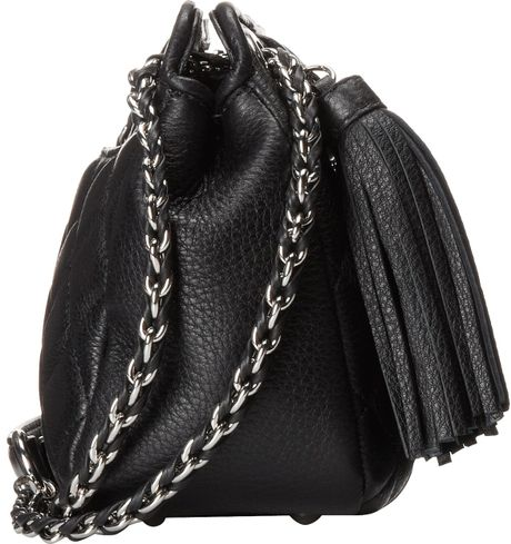 Calvin Klein Quilted Leather Tassel Crossbody In Black
