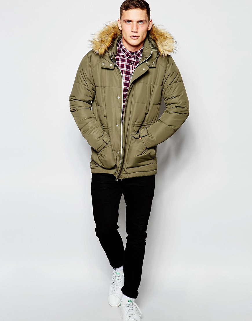 Asos Quilted Fishtail Parka With Faux Fur Hood In Khaki in Green ...