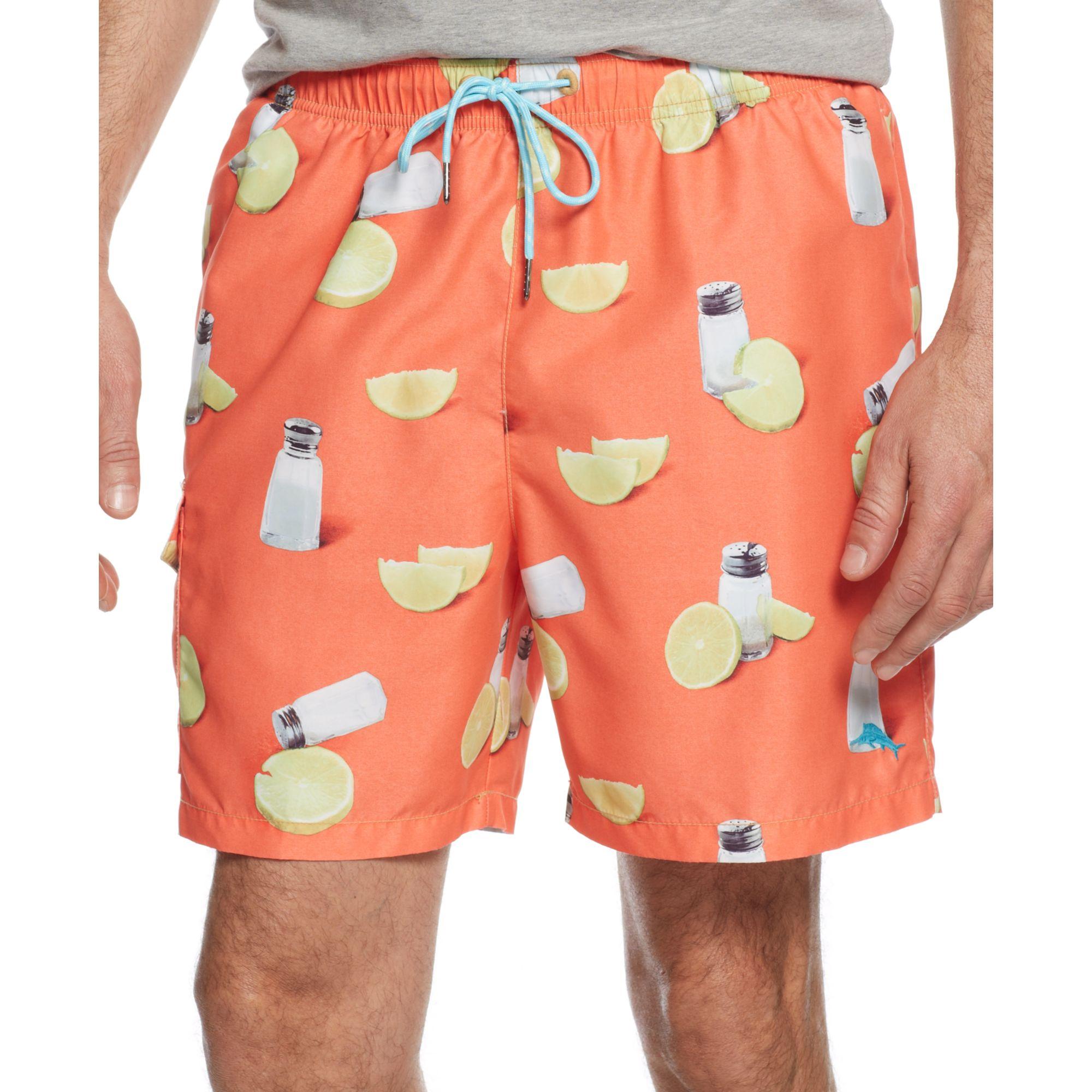 Tommy Bahama Naples Salt And Lime Swim Trunks In Orange