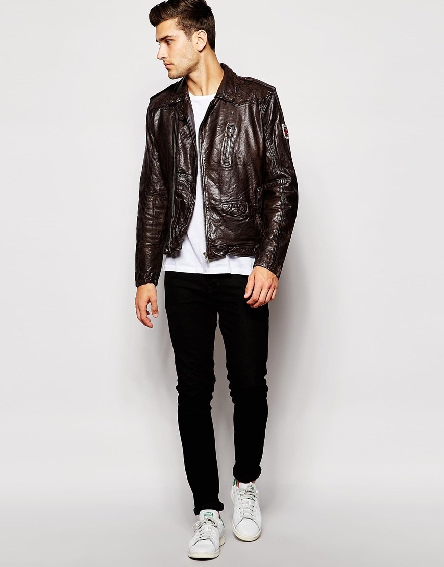 Lyst Pepe Jeans Arcade Leather Jacket In Brown For Men