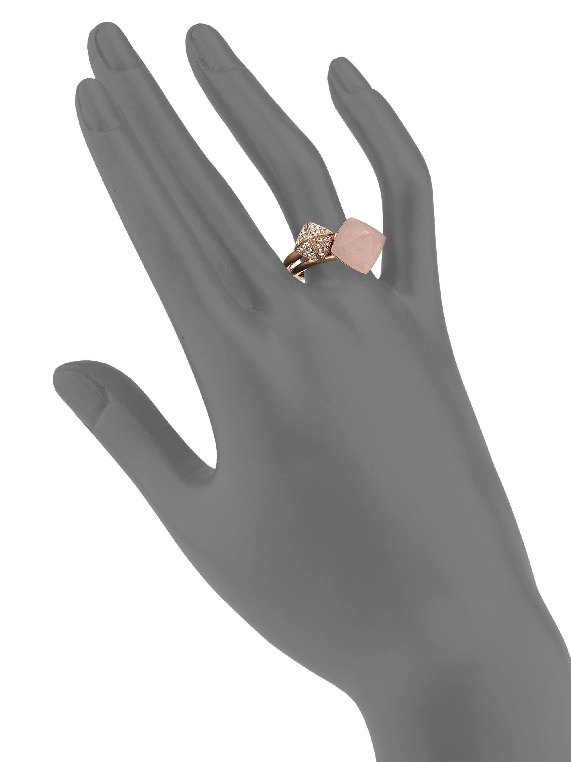 Michael kors Rose Quartz Pave Pyramid Ring Set in Pink