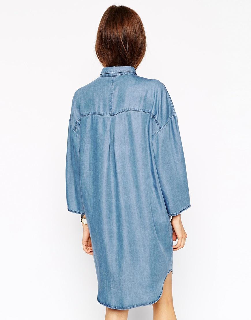 Lyst Asos Denim Oversized Chuck On Shirt Dress In Blue
