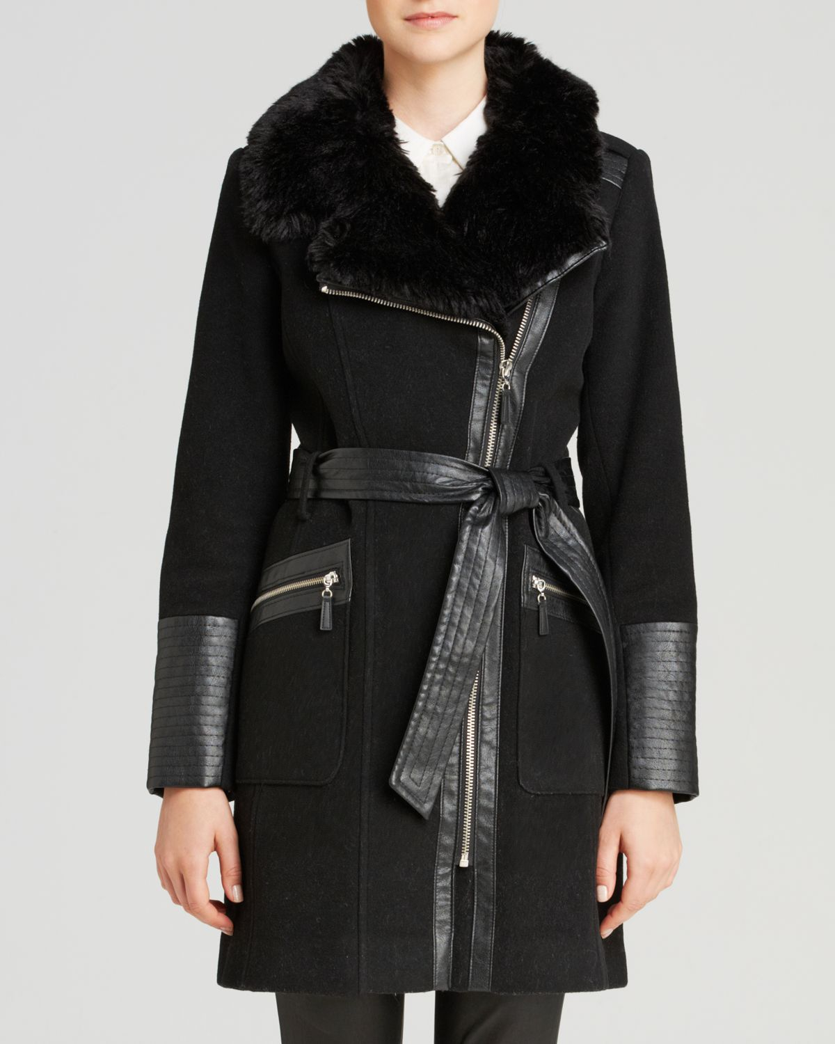 Via Spiga Faux Leather And Faux Fur Collar Coat In Black
