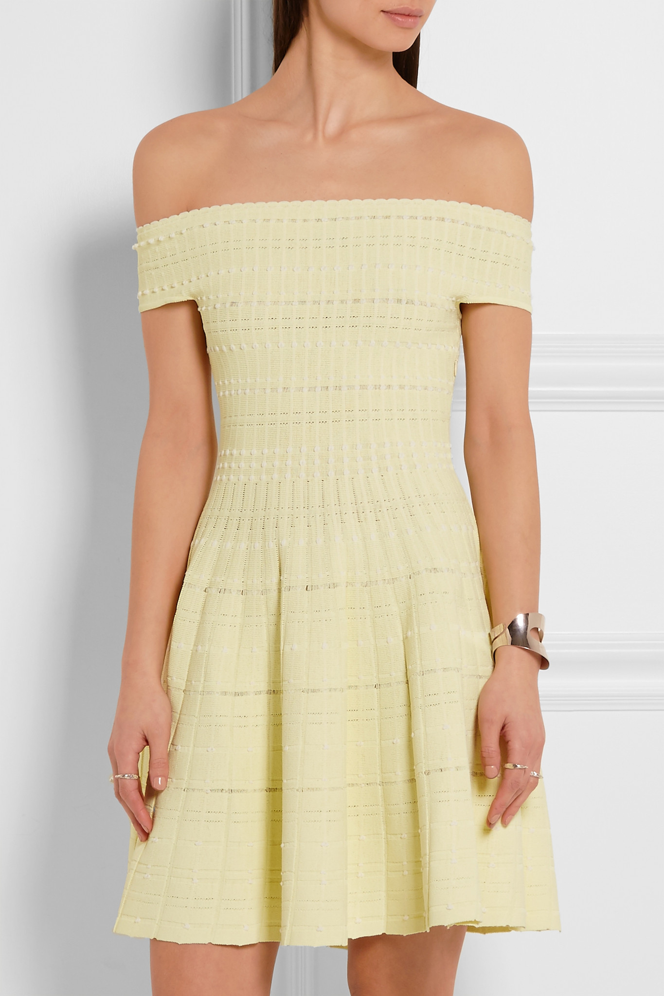 dd40628a57fb Lyst - Alexander McQueen Off-the-shoulder Knitted Mini Dress in Blue