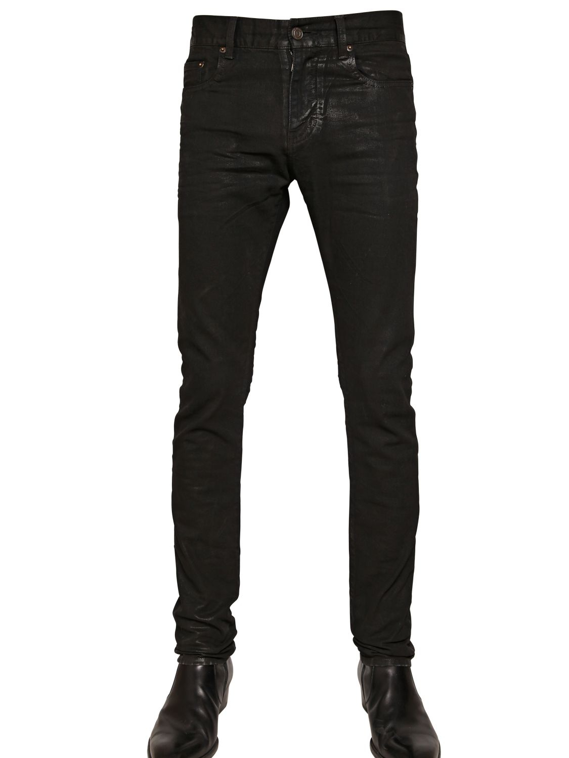 lyst saint laurent wax coated stretch denim jeans. Black Bedroom Furniture Sets. Home Design Ideas