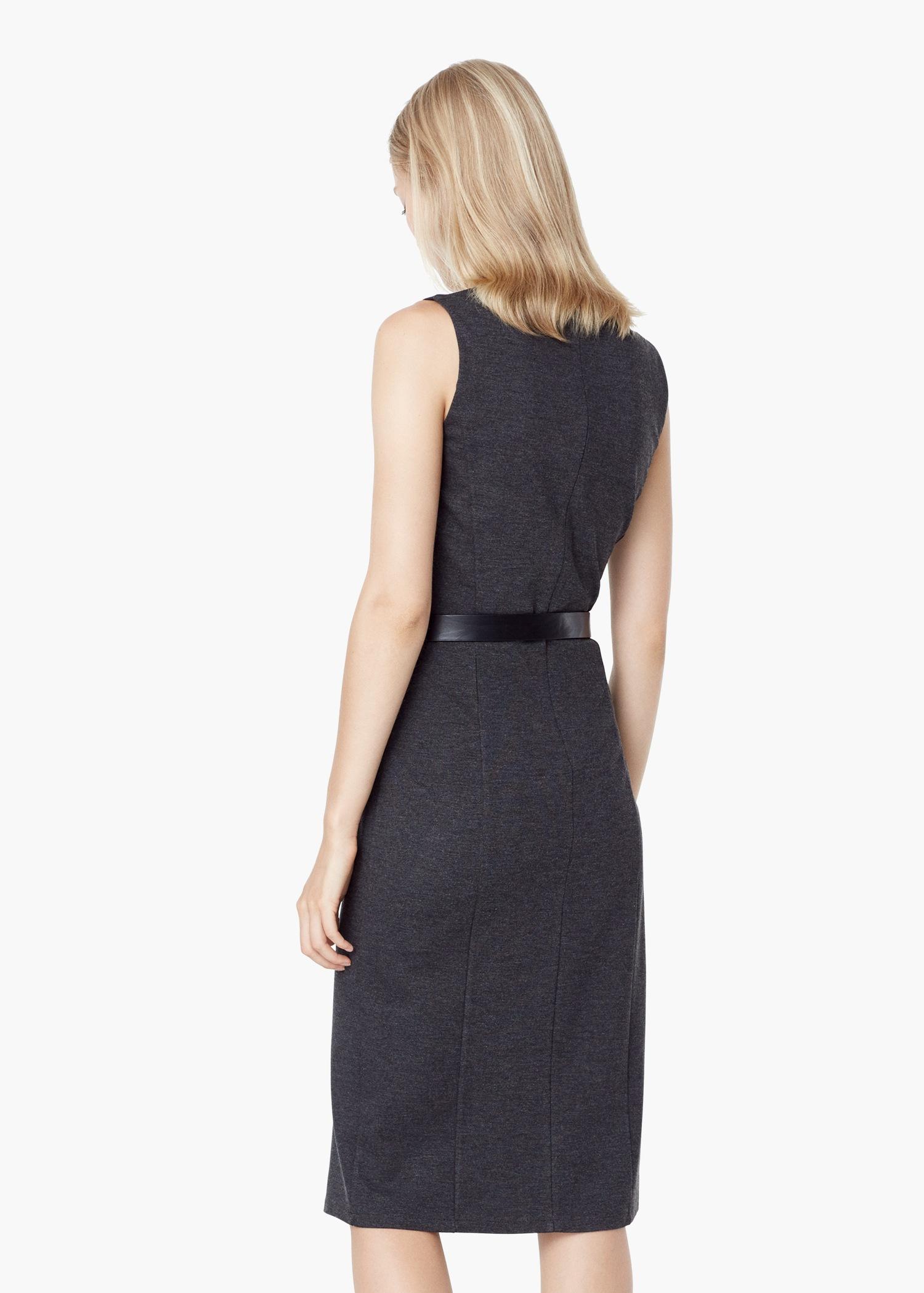 mango contrast belt dress in gray lyst