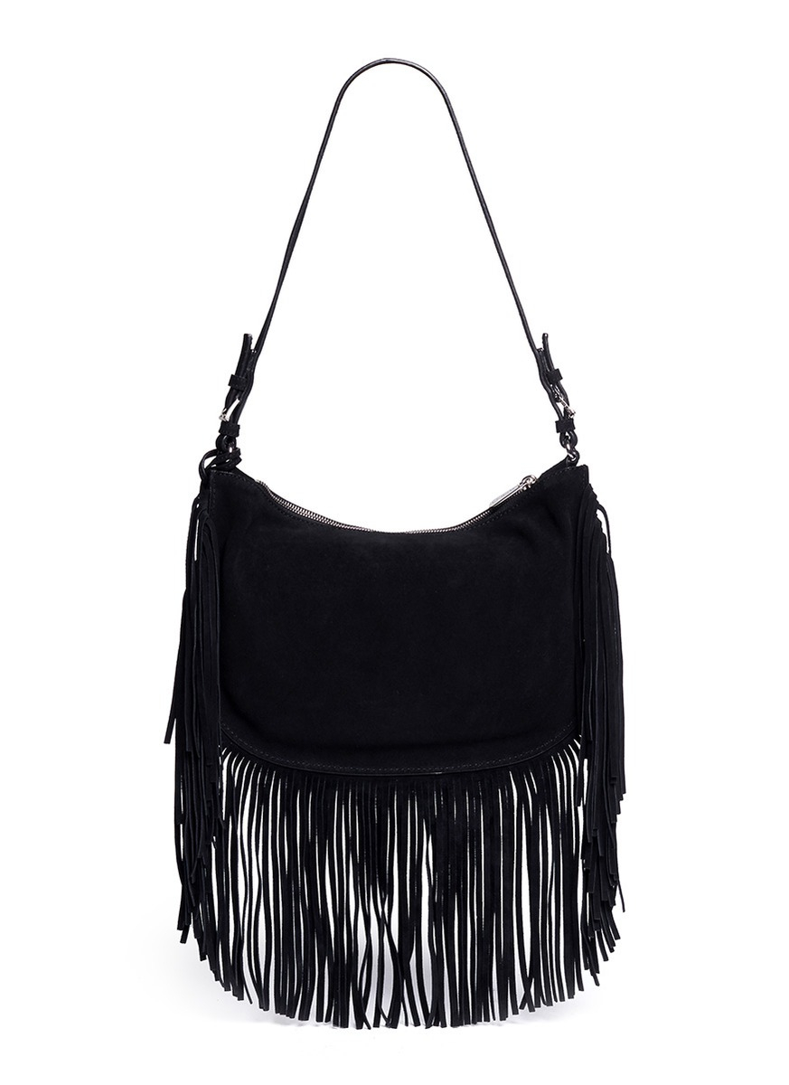 Shop black suede fringe purse from Bottega Veneta, Elena Ghisellini, Rebecca Minkoff and from Barneys New York, Farfetch, TheRealReal and many more. Find thousands of new high fashion items in one place.