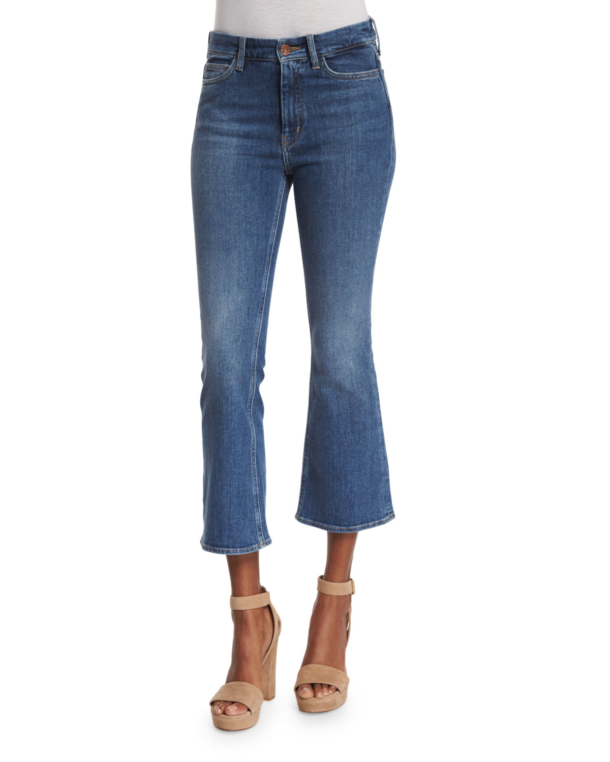 m i h jeans marty flare leg cropped jeans in blue lyst