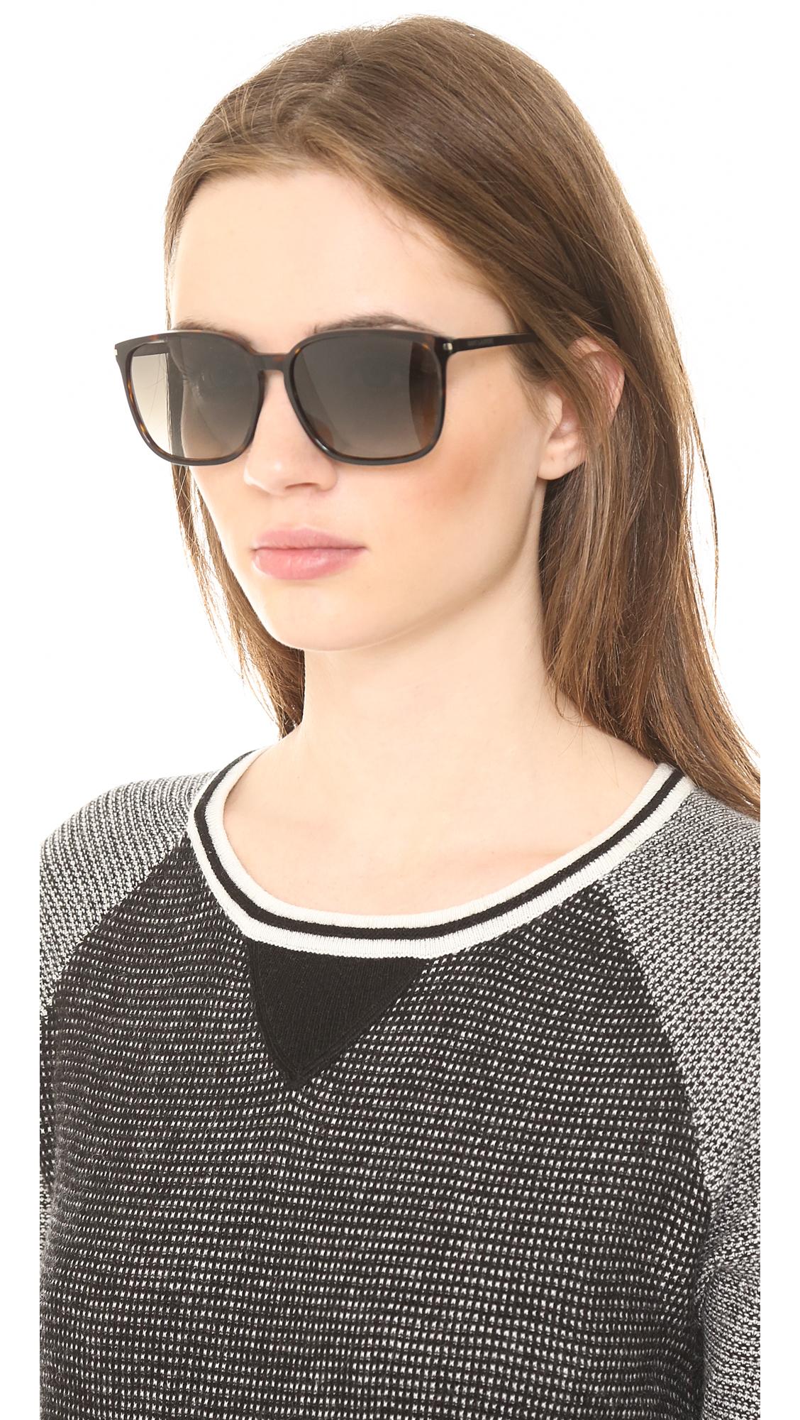 bff1369569 Lyst - Saint Laurent Slim Square Sunglasses - White Brown Gradient in Brown