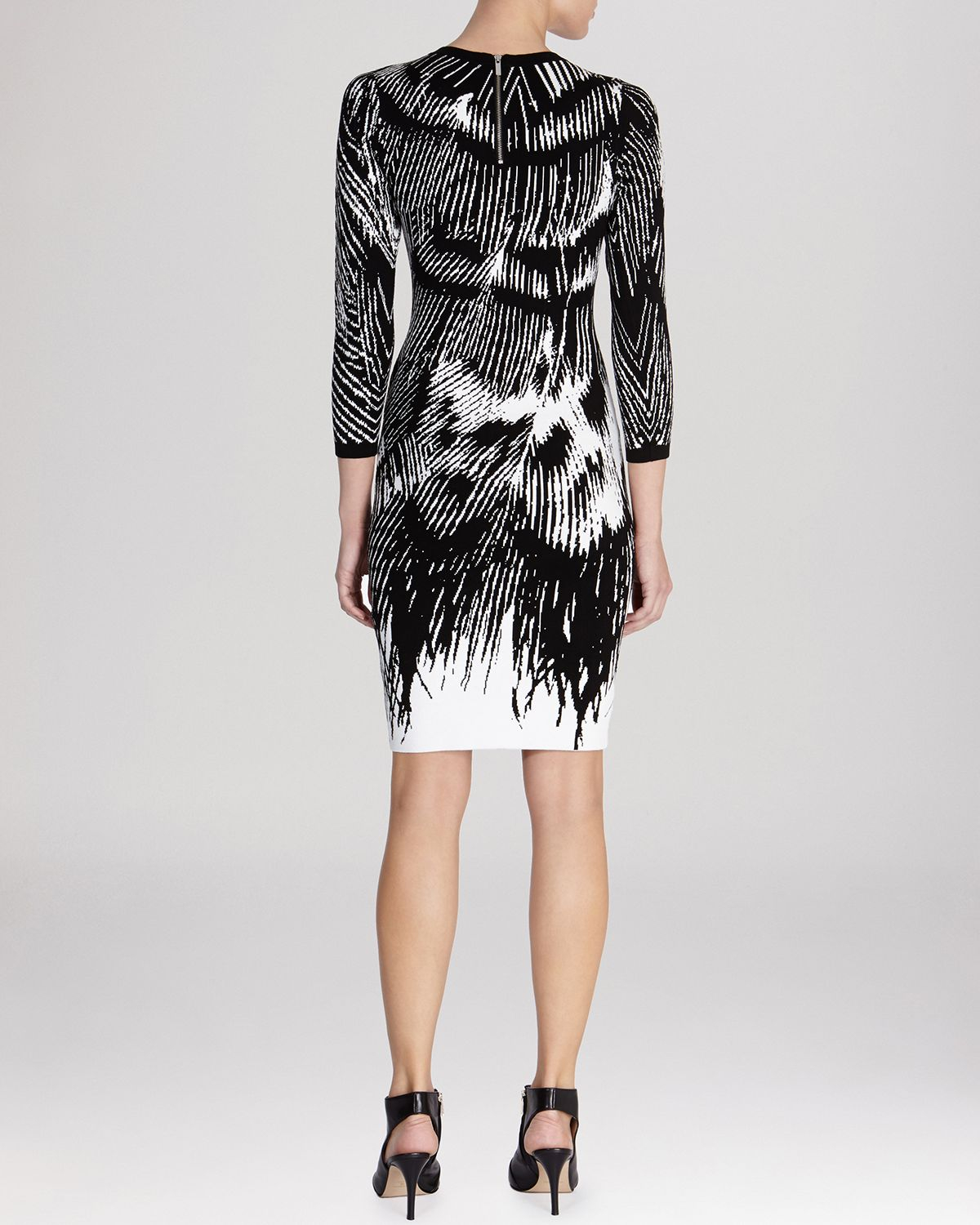Lyst Karen Millen Dress Abstract Feather Print Knit In