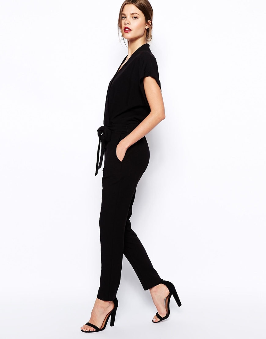 Asos Jumpsuit With Tie Waist And Short Sleeves in Black | Lyst