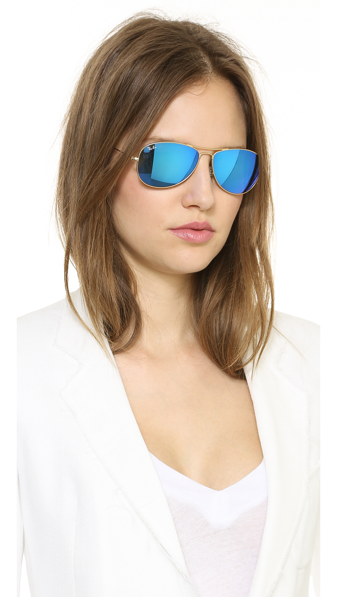 Ray Ban Mirrored Shrunken Aviator Sunglasses In Blue