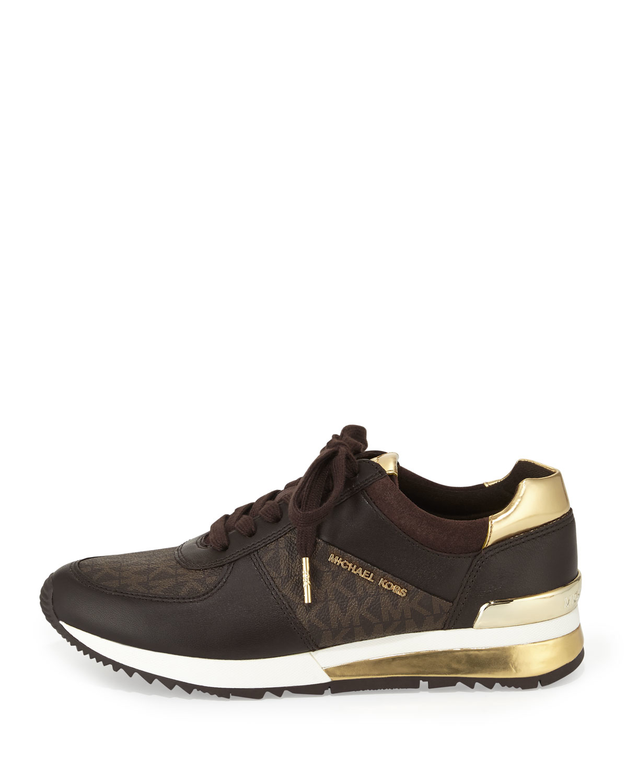 Michael Michael Kors Allie Wrap Leather Sneaker In Brown