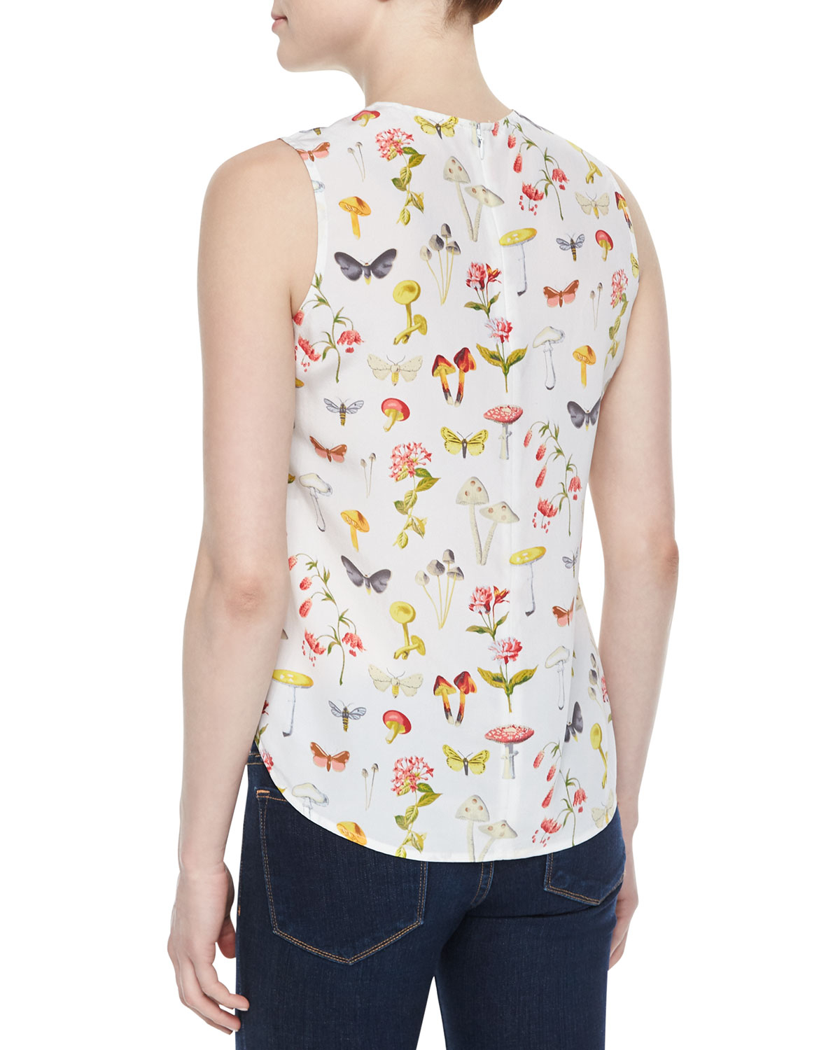 Equipment Lyle Printed Sleeveless Silk Top in White | Lyst