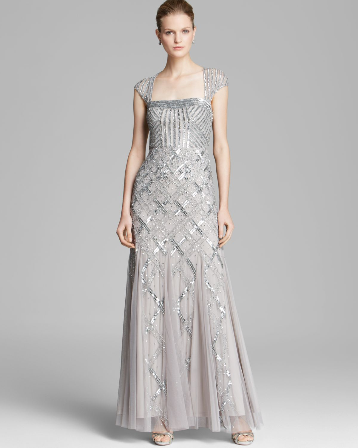 Adrianna Papell Gown Cap Sleeve Cutout Back In Platinum