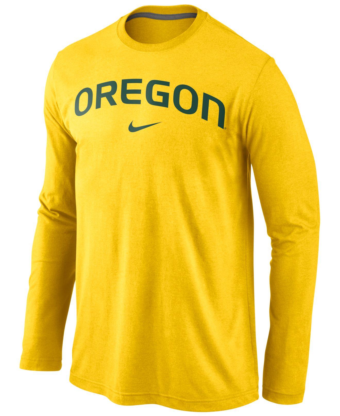 Nike Men'S Long-Sleeve Oregon Ducks Wordmark T-Shirt in Yellow for ...