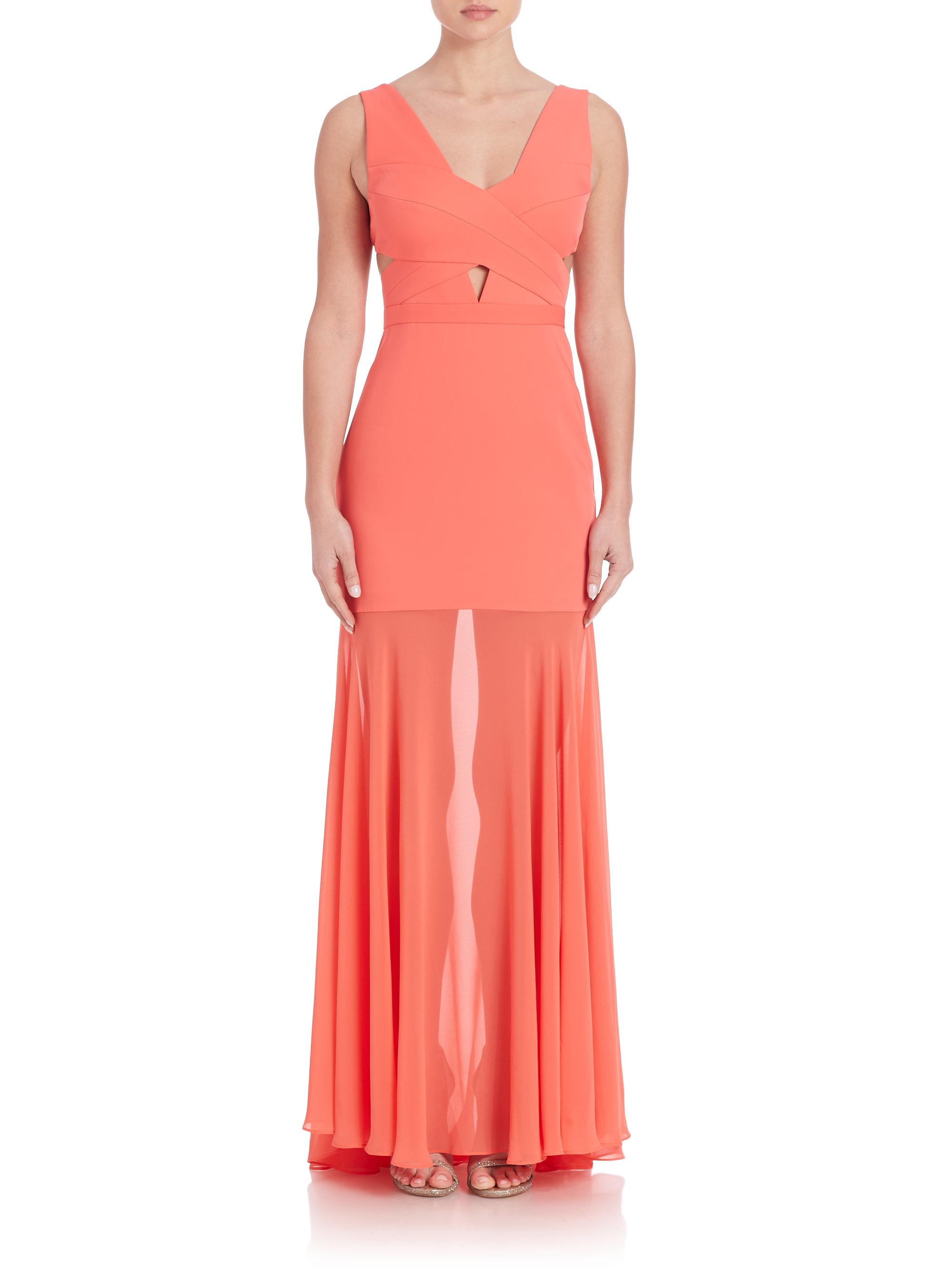 Lyst - Bcbgmaxazria Joy Cutout Gown in Orange