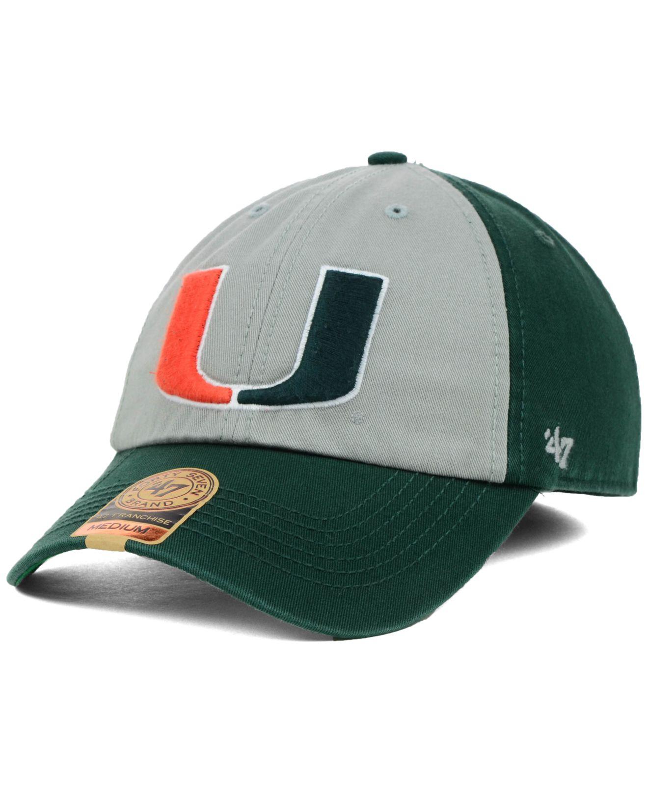 86884ca977fe8 Lyst - 47 Brand Miami Hurricanes Vip Franchise Cap in Green for Men