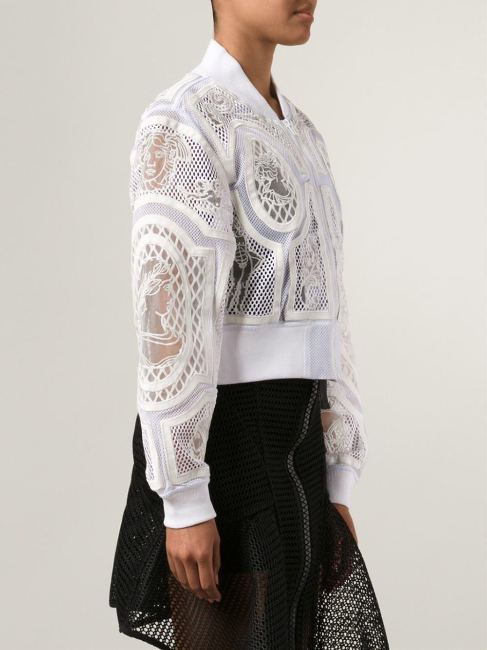 Ktz Embroidered Mesh Bomber Jacket In White Lyst