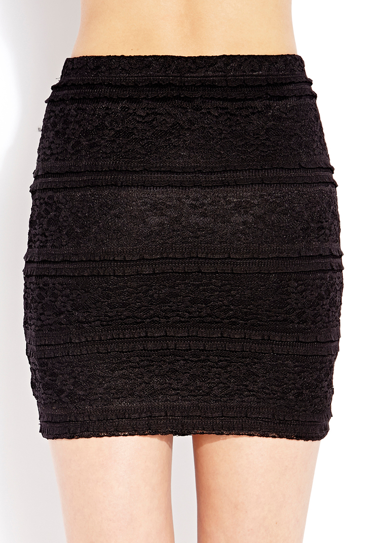 Forever 21 Lady Lace Mini Skirt in Black | Lyst
