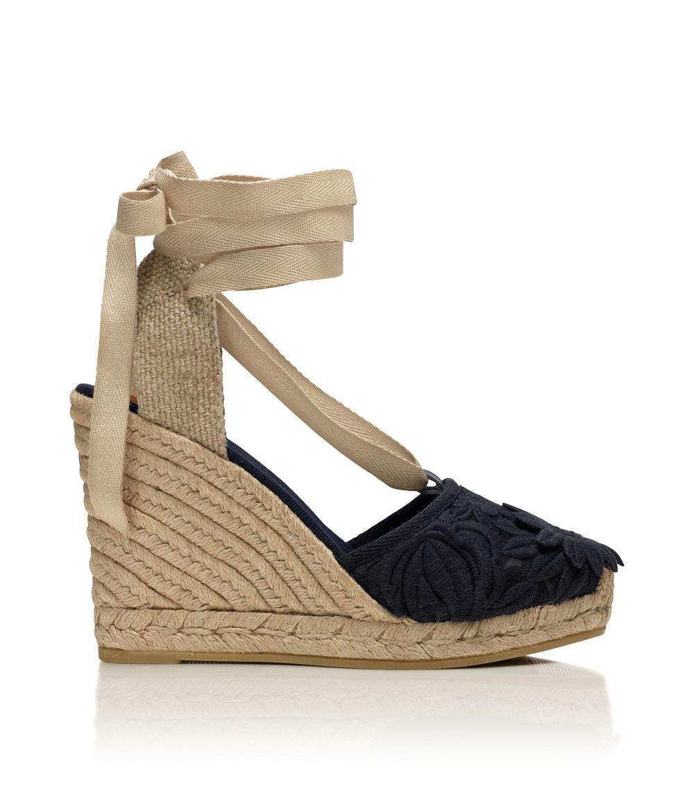 096965339 Lyst - Tory Burch Emil Wedge Espadrille Sandal in Blue