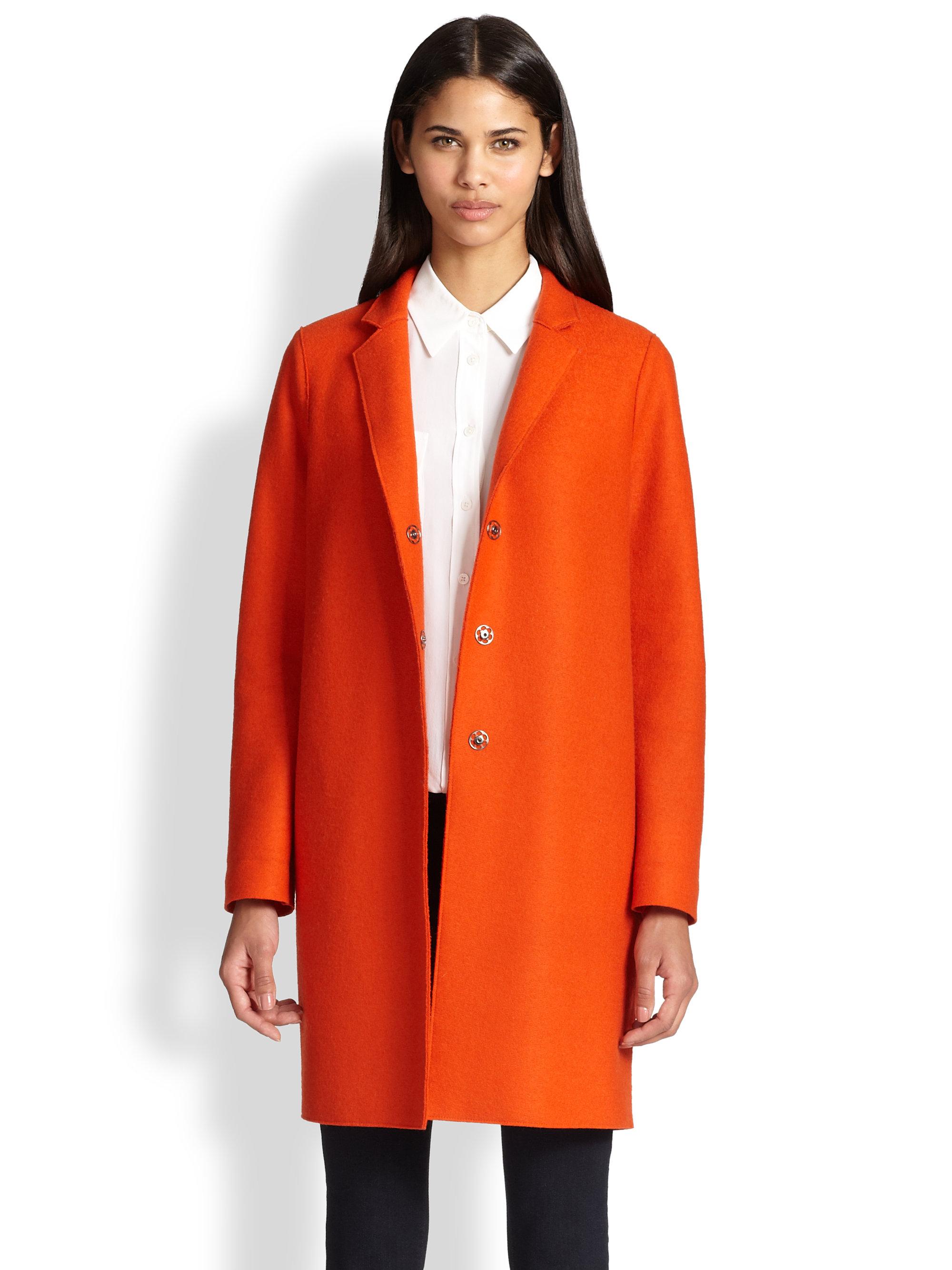 harris wharf london wool snap coat in orange lyst. Black Bedroom Furniture Sets. Home Design Ideas