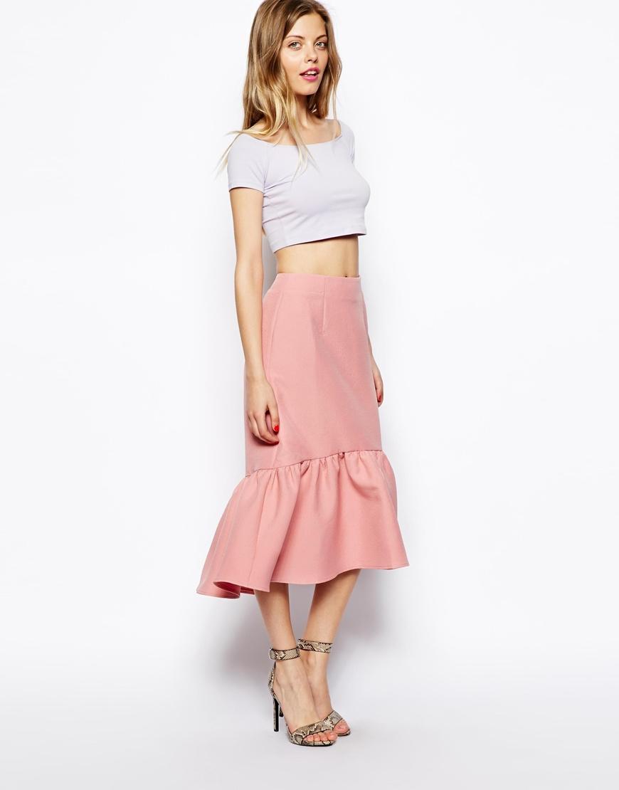 lyst asos peplum hem pencil skirt in texture in pink. Black Bedroom Furniture Sets. Home Design Ideas
