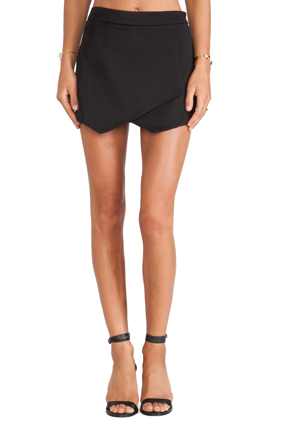 Krisa Asymmetrical Mini Skirt in Black | Lyst